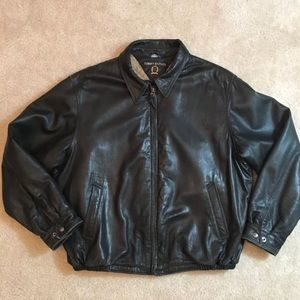 Vintage Tommy Hilfiger Black Leather Jacket XL